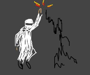 A white ninja high-fives his shadow