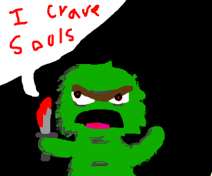 Oscar the Grouch goes insane and stabs people.