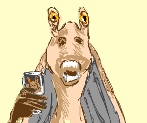Jar Jar looks jarring holding a jar