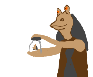 Jar Jar holding a glass with a Jar Jar in it