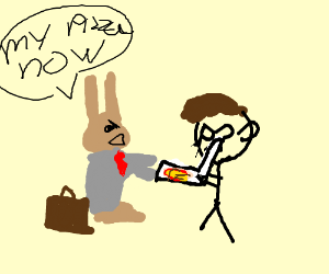 assertive business rabbit takes pizza from man