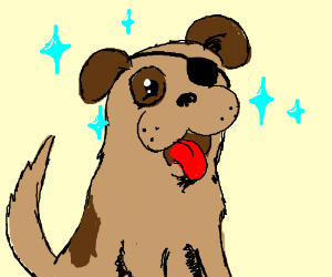 Sparkling dog with an eye patch
