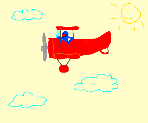 Grover flying a bi-winged airplane