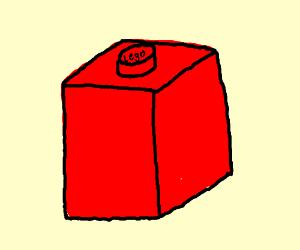 Red, one peg Lego brick.