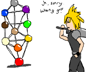 Cloud looks at a molecule-version Sephiroth