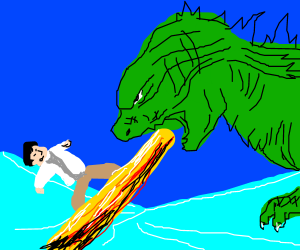 Godzilla vs Jackie Chan on Ice