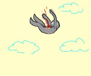 Gray figure bleeding mid air