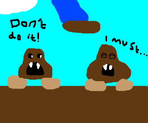 goomba kills self and 2nd 1 says dont do it