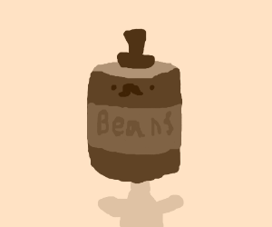 dapper man with a can of beans as a head