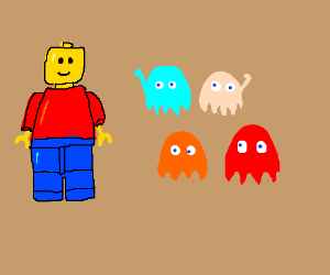 Lego man meeting the pac-man ghosts