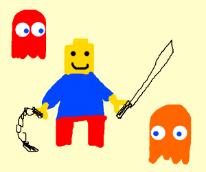 Lego man vs pacman ghosts
