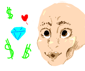 Hyper realistic face likes diamonds and money
