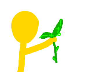 Yellow skinned man holds up dead plant