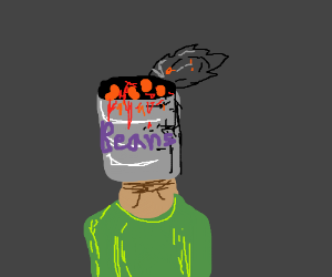 Man with a tin of beans instead of head