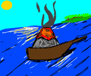just a normal looking volcano in a boat
