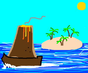 volcano leaves his island with a boat