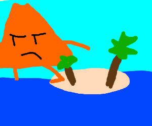 Volcano is Escaping a Deserted Island