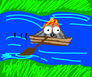 Volcano rowing a boat down the river