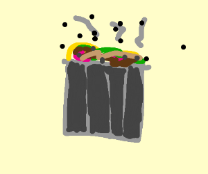 a trashcan infested with flies, maggots etc