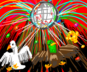 Duck Party!  Skittles volcano and disco ball.