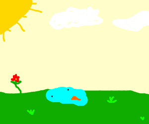 A snowman in spring.