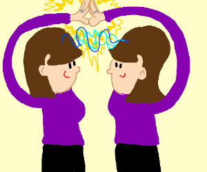 psychic twins touch hands