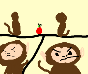 Two monkeys fighting over an apple