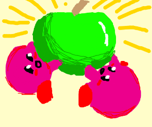 2 kirbies hold up an apple and worship it