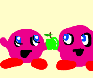 2 kirbys holding a green apple