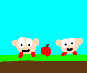 Two kirbys and an apple