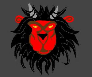 Red lion with black mane and grey horns. :3