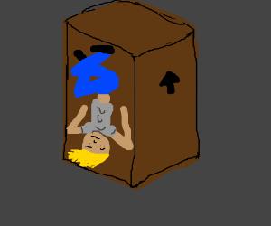 upside-down man stuck in box