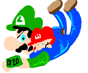 Luigi and baby Mario fight over 20 dollars