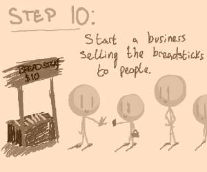 Step 9: Take all the breadsticks, and escape