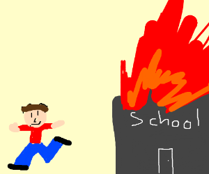 kid dances while school is on fire