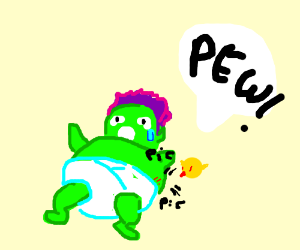 Baby Hulk gets bullied by a microscopic bird