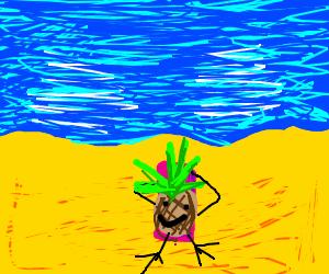Happy pineapple at the beach. Birdview.