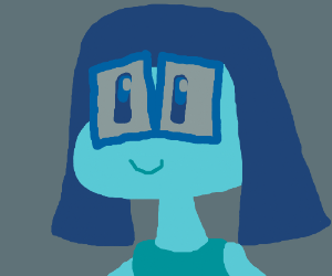 blue girl with glasses