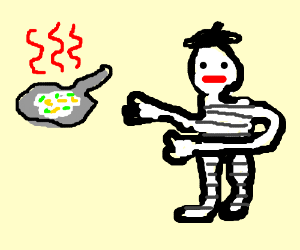 French mime wants a cheese omelet