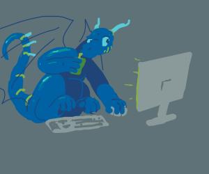 A dragon playing videogames