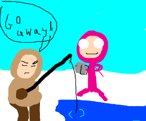 Pink Guy harassing an eskimo and recording it