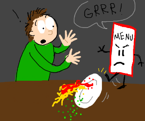 a drawing of a very very bad menu