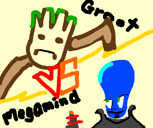 Groot vs blue dude with big forehead