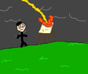 Artist upset - easel set afire by lightening!