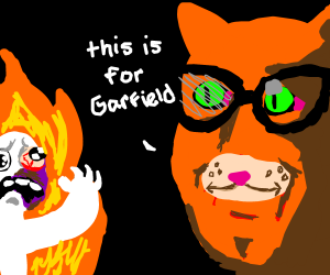 Triggered cat burns man because of Garfield