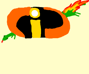 flaming lizard goes into the incredibles logo
