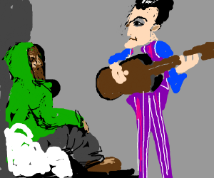 Robbie Rotten plays the guitar for a hobo