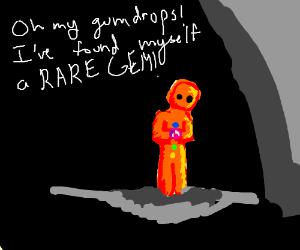 gingerbread man finds rare gem in dark cave