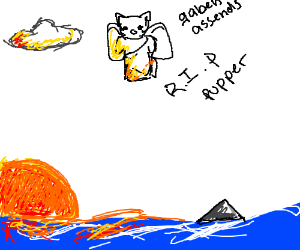 Gaben descends from the heavens. Also a shark.