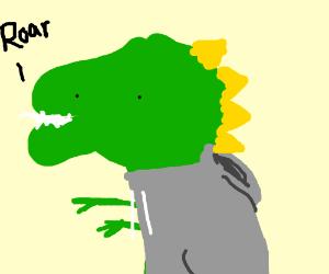 A Dino wearing a grey hoodie.